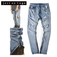 Men/Male Blue Ankle Zipper Biker/Motorcycle Denim Jeans Slim Straight Ripped Damged Hole Designer Brand HipHop Funky Denim Pants