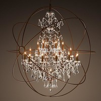 Modern Vintage Orb Crystal Chandelier Lighting /RH Rustic Candle Chandelier