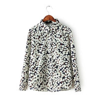Leaf Print Long-sleeve Button Collared Blouse