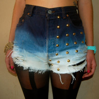 Dip Dyed Ombre Studded Levi's High Waist Shorts