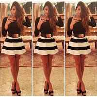 Women Chic Slim Black White Stripes Swing Skater Dress Party Prom Bodycon Dress (Asian size)  For detail size information,please check the description = 1651263940