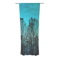 """Sylvia Cook """"Dark Forest"""" Blue Trees Decorative Sheer Curtain"""