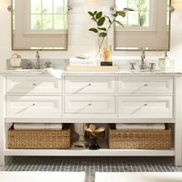 Classic Double Sink Console - White