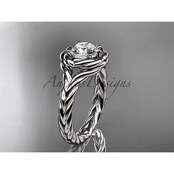 "14kt white gold twisted rope engagement ring with a ""Forever One"" Moissanite center stone RP8201"