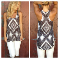 Grey Sublimated Aztec Print Tank