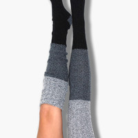 Black Color Block Marled Cable Knit Thigh High Socks