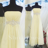 Beads Ruffled Strapless Empired Long Bridesmaid Celebrity Cocktail Dress , Floor length Chiffon Evening Party Prom New Homecoming Dress