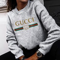 Gucci Fashion Woman Men Top Print Word Leisure Round neck Sweater Grey