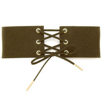 Thick Faux Suede Lace Up Corset Choker Necklace - Olive