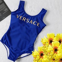 Versace Fashion Women Vest Type One Piece Bikini Letters Blue