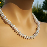 Pearl Wedding Necklace Jewelry Bridal Accessory with Pearl Plated Rope and Luxury Claps. Pearl Rain.