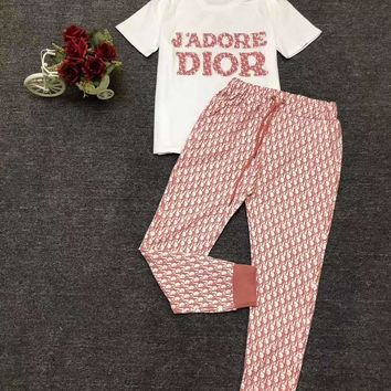 """""""DIOR"""" Woman's Leisure  Fashion Letter Drill Printing  Short Sleeve Trousers Two-Piece Set"""