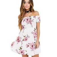 Off Shoulder Womens  Mini Dresses   Vintage Floral Print Ladies Boho Beach Mini Short Sleeve A Line Dress #63 BL
