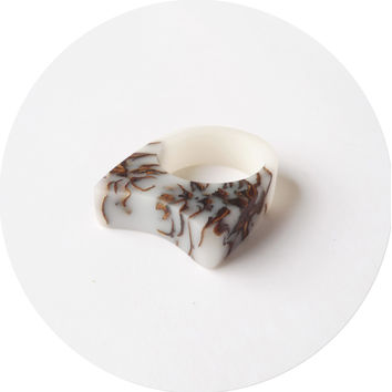 White Frosted strobili Bio resin and pinecone ring