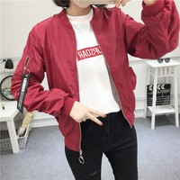 """""""Tommy Jeans"""" Women Casual Fashion Letter Pattern Patch Zip Long Sleeve Baseball Clothes Loose Cardigan Coat"""