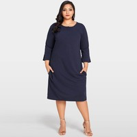 Women Plus Size Dress 3/4 Sleeves Pockets Solid Casual Loose Elegant Party Dress Vestidos Dark Blue