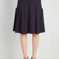 Mid-length A-line At the Racquet of Dawn Skirt in Navy