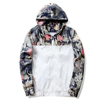 Floral Jacket 2021 Autumn Mens Hooded Jackets Slim Fit Long Sleeve Homme Trendy Windbreaker Coat Brand Clothing Drop Shipping