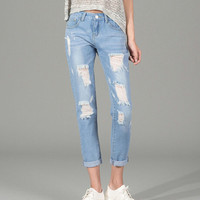 2016 Summer New jeans woman Ripped Holes Fashion Straight Capris Mid Waist Famale Washed Denim Pants Cotton Trousers