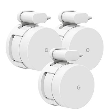 Google WiFi Wall Mount, Mrount Space-saving Outlet Mount Holder Hanger for Google WiFI Router and Google Mesh with Cord Management, No Screws Needed (3 Pack))