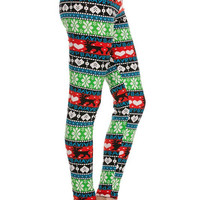 IN STOCK Super Soft Knit Reindeer Print Christmas Leggings cozy Leggings for Winter Fun Stocking Stuffers Holiday Gifts for her