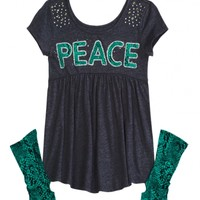Babydoll Tee With Arm Socks   Girls Tops & Tees Clothes   Shop Justice