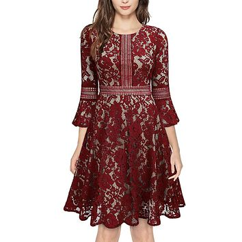 Vintage Inspired Bell Sleeve Lace Cocktail Dress, US Sizes 0 - 20  (Red Wine Dress)