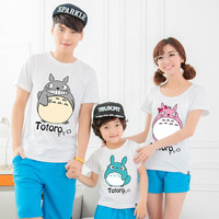 Tendrils family fashion cartoon totoro t-shirt family fashion clothes for mother and son clothes for mother and daughter summer