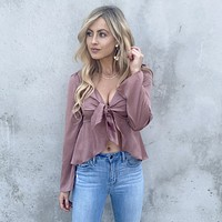 Chic Satin Knot Blouse in Mauve