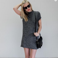 Dark Gray High Neck Short Sleeve Mini Dress