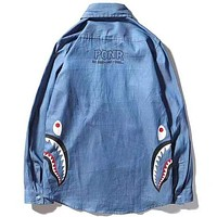 BAPE 2019 new shark pattern on both sides zipper denim long sleeve shirt Blue
