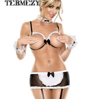 sexy lingerie hot women teddy sexy open crotch bra lingerie set lace lenceria sexy costume for women sex maid erotic lingerie