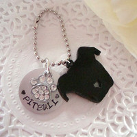 Pitbull Keychain With Hand Stamped Tag Made to order