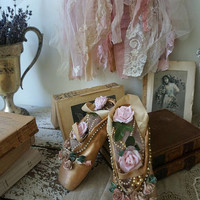 Nude pink vintage ballet pointe shoes shabby cottage chic decorated slippers tattered lace hanger embellished home decor anita spero design