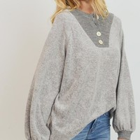 Mabel Henley Top (Grey)