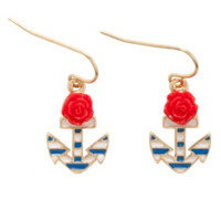 LOVEsick Red Rose Striped Anchor Earrings