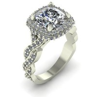 Cubic Zirconia Engagement Ring-*Clearance* 4.15 TCW Celebrity Replica Ring in 10K White Gold