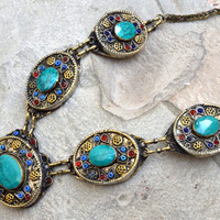 Afghan Kuchi Necklace,Pendants,Green Turquoise Necklace,Carved Tribal Necklace,Bohemian Jewelry,Antique,Ethnic Necklace,Gypsy Boho Necklace