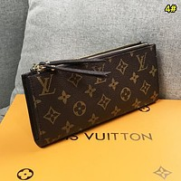 LV Louis Vuitton New fashion monogram print leather double zipper wallet purse women 4#