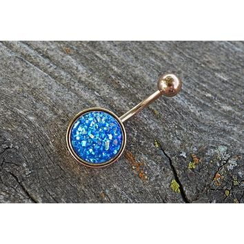 Blue Druzy Rose Gold Belly Button Ring
