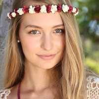 Maroon and Ivory Delicate Rose Flower Crown
