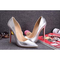 Christian Louboutin Silver Patent Leather High Heels 100mm