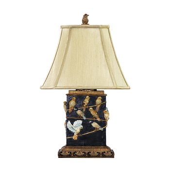 Birds On Branch Table Lamp in Black West Riding Black
