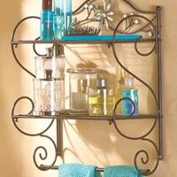 Metal Jeweled Flower Accent Bathroom Wall Shelf With Towel Rack Holder Organizer