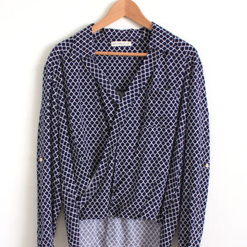 70s 80s Vintage Secretary Blouse Top Navy Blouse Long Sleeve Cross Front Blouse Hipster Retro Modern Style SMALL