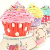 EAT ME Alice in Wonderland Theme Party fake cupcake for photo session props shoot ,cake smash ,centerpieces bakery PINK icing - tea party