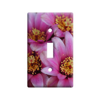 Pink Cactus Flowers Light Switch Plate Cover