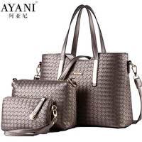 AYANI Brand 100% s Designer Bags Handbag+Messenger Bag+Purse 3 pieces
