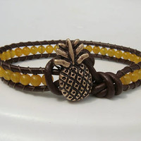 Pineapple Bracelet Yellow Jade Beaded Leather Bracelet