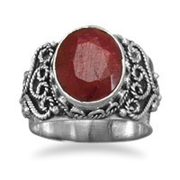 Oval Rough-Cut Ruby Ring